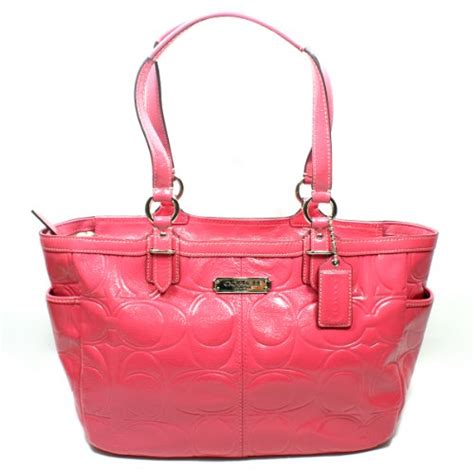 Coach Gallery Patent Handbag by Coach 19462 Gallery Patent Leather Embossed Tote Crimson