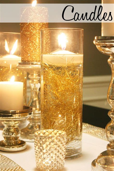 water vase centerpieces hurricane vase filled with tinsel and water and a floating candle is a simple diy decor item