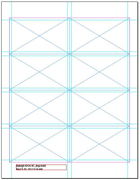 index card template indesign document using document grid and visible guides to