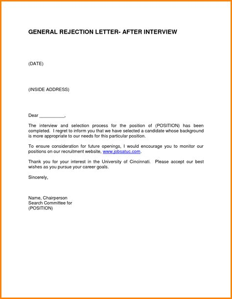 Rejection Letter How To Rejection Thank You Letter Sle Follow Up Letter After And Rejection
