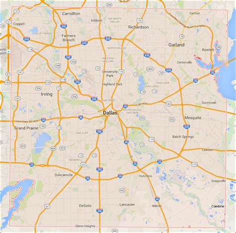 dallas texas county map dallas tx map images