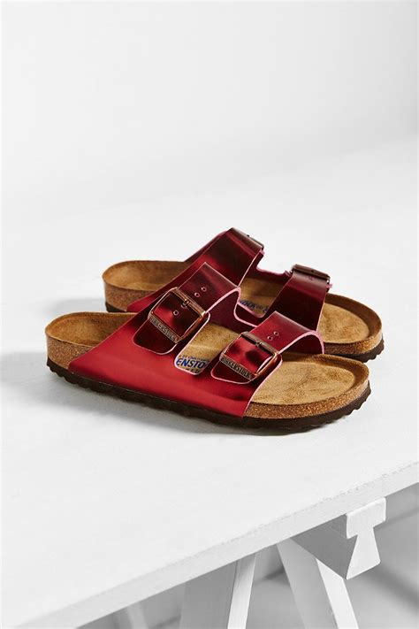 birkenstock bed birkenstock red arizona metallic soft footbed sandal lyst