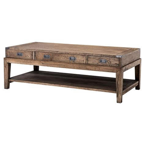 Rustic Rectangular Coffee Table Eichholtz Rustic Lodge Smoked Oak 3 Drawer Rectangular Coffee Table Kathy Kuo Home