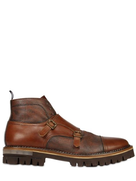 monk boots brimarts monk leather ankle boots in brown