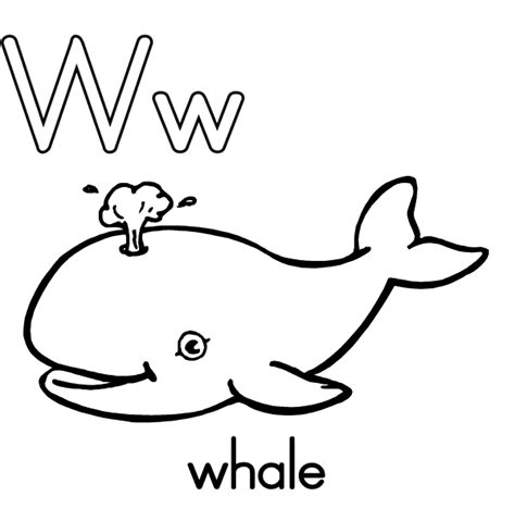 preschool coloring pages letter w w is for whale coloring page coloring home