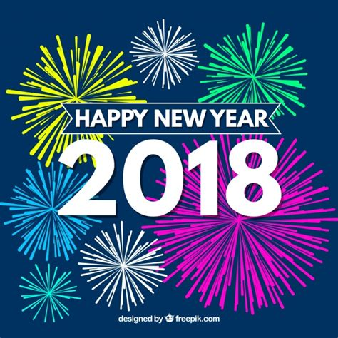 new year 2018 vector fireworks new year 2018 background vector free