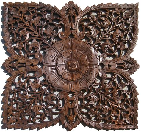 Carved Wall Decor by Lotus Wooden Wall Carving Wall Hanging Handmade By