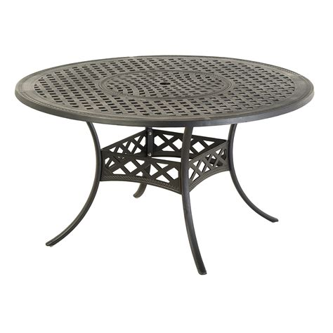 Lowes Patio Table And Chairs Shop Allen Roth Whitley Place Burnished Black Powder Coated Patio Dining Table At Lowes