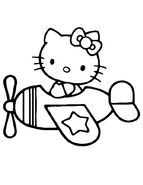 Hello Kitty Airplane Coloring Page | hello kitty flying airplane coloring page h m coloring