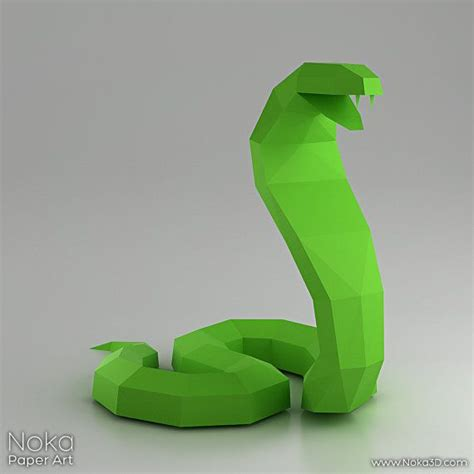 3d Model Papercraft - cobra snake 3d papercraft model downloadable diy