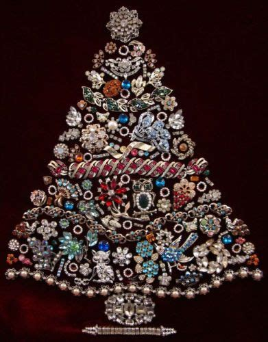 vintage large framed lighted costume jewelry christmas