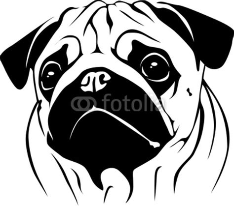 pug stencil pug silhouette portrait pug 02 from dogarts royalty free vector 17147848 on