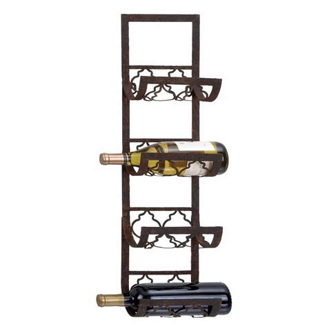 Metal Wall Wine Racks shop woodland imports 4 bottle wall mount wine rack at lowes