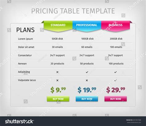 pricing table template word web pricing table template business plan stock vector