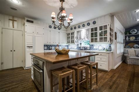 white kitchen island with butcher block top 47 beautiful country kitchen designs pictures