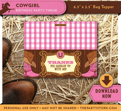 printable party bag toppers cowgirl treat bag topper printable candy bag toppers