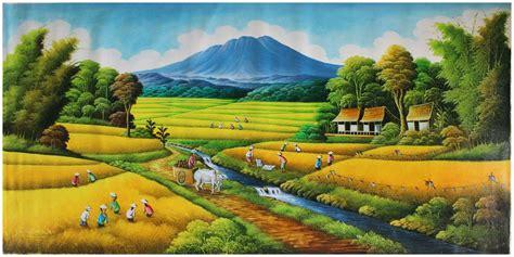 jual repro digital lukisan panen sawah ricefiel harvest