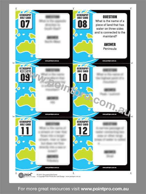 Trivia Card Templates by Geography Quiz Cards Point Production And Design