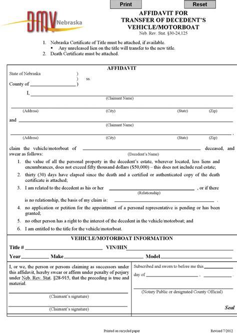 nebraska motor vehicle nebraska affidavit for transfer of decedent s