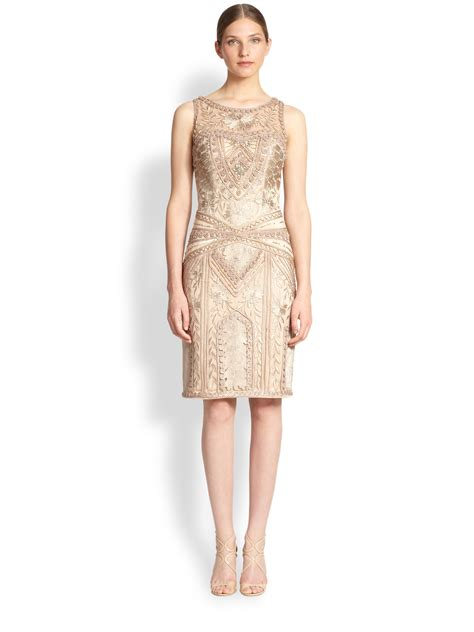 Embroidered Sheath Dress sue wong embroidered sheath dress in beige lyst