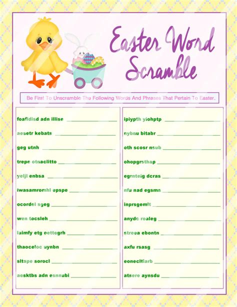 printable easter word games for adults easter word scramble printable word scramble diy easter