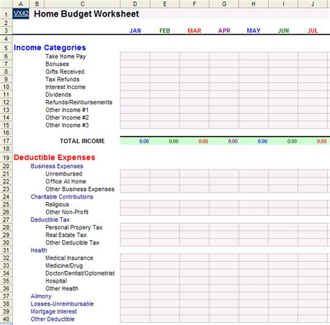 Home Budget Worksheet Template Household Bookkeeping Template