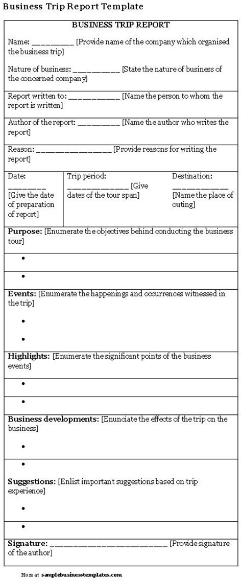 trip report template business trip report template sle business templates