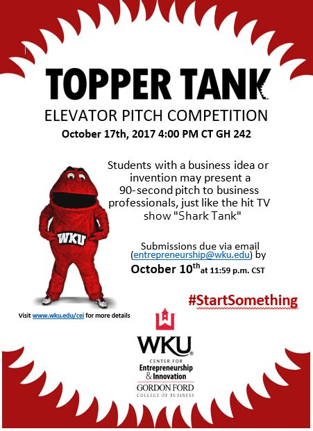 Wku Mba Requirements by Topper Tank Elevator Pitch Competition Western