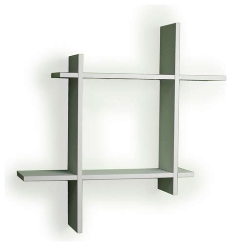 asymmetric laminate square floating wall shelf white