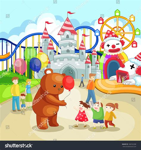 cartoons with themes cartoon amusement park theme park children stock vector