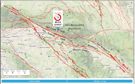 earthquake line san andreas fault earthquake wakes san bernardino and