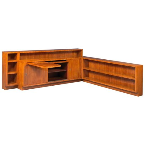 Walnut Corner Bookcase Chareau Important Walnut Corner Bookcase For Sale At 1stdibs