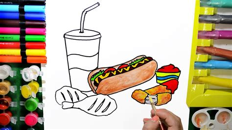 Draw Color Paint Fast Food Hot Dog Grilled Chicken Coloring Pages And Learn Colors For Kids Coloring And Painting