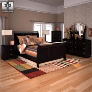 3d model ashley pinella sleigh bedroom set vr ar low