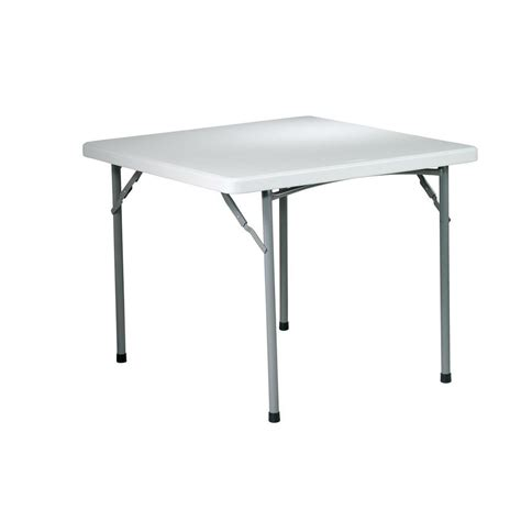 Lifetime 37 In X 37 In White Granite Square Card Table Home Depot Card Table