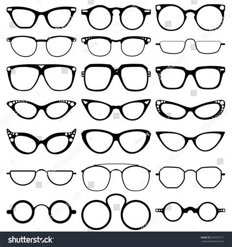 glasses model icons frames stock vector