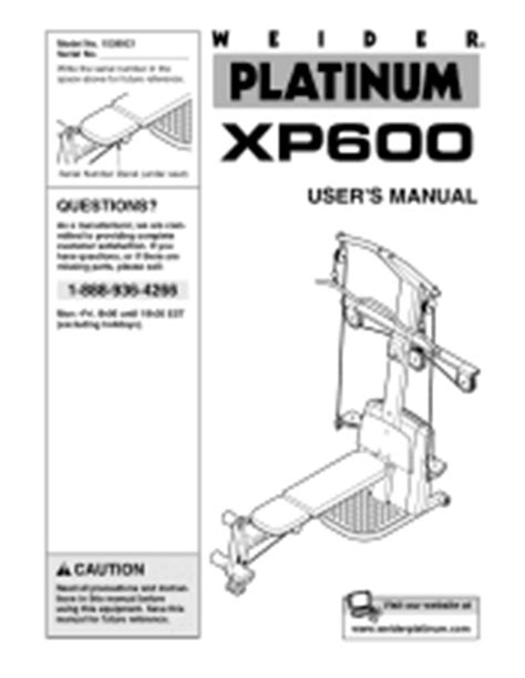 weider platinum xp600 manual