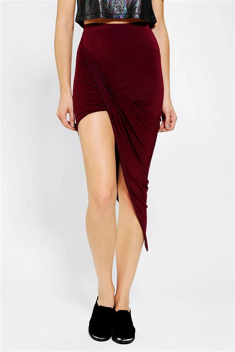 Asymmetrical Drape Knit Maxi Skirt outfitters sparkle fade asymmetrical drape knit maxi skirt in lyst