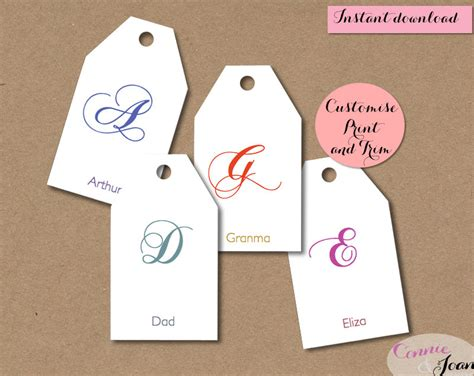 gift tags diy script initial tags editable printable custom