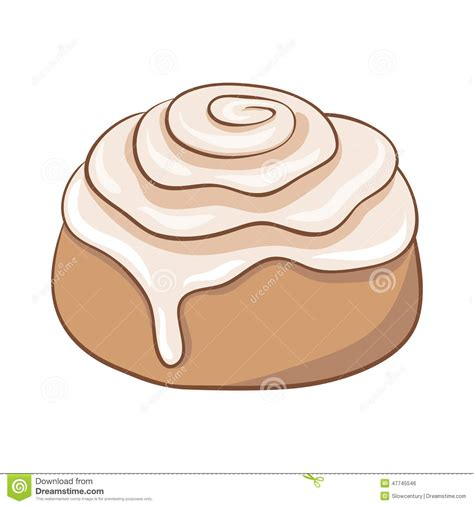 cartoon rolls freshly baked cinnamon roll with sweet frosting stock