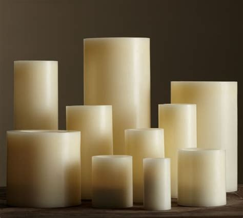 flameless pillar candles glancing framed mirror in small flameless wax pillar candle ivory pottery barn