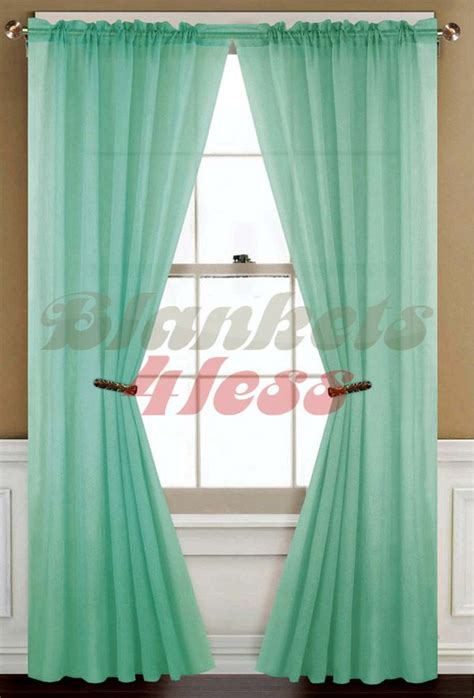 mint green solid  sheer window curtain panel brand