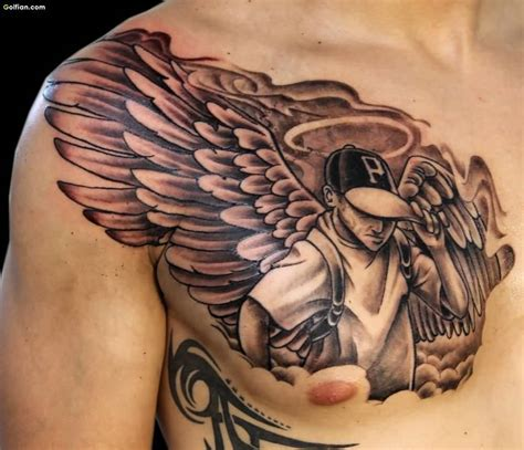 angel chest tattoo 25 most wonderful chest tattoos trendy 3d