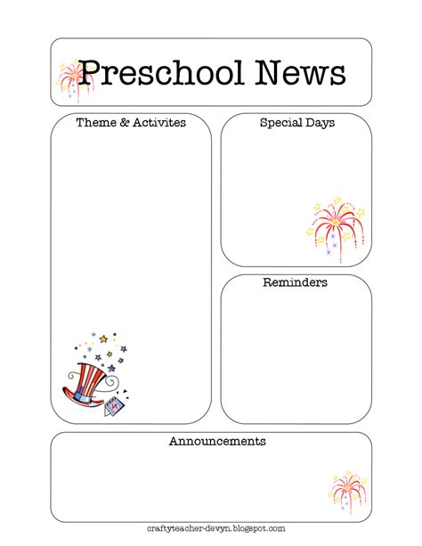 the crafty teacher july preschool newsletter template
