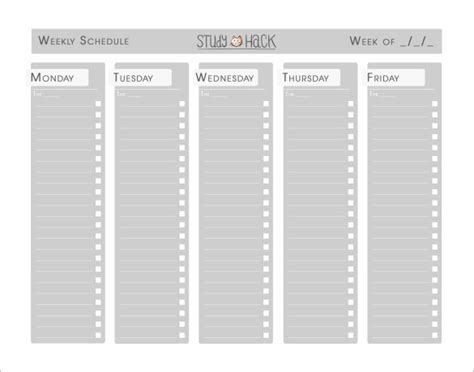 study plan template search results for printable blank weekly schedule