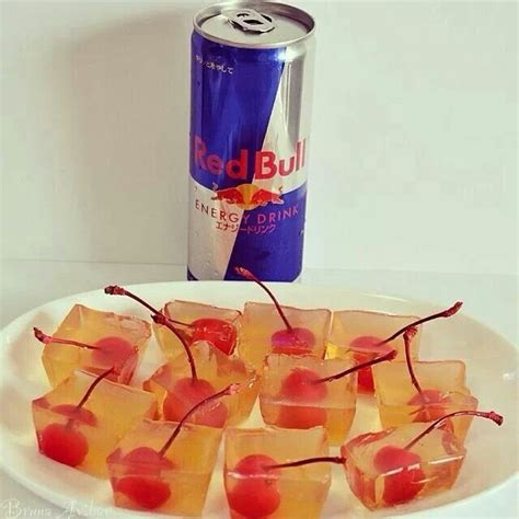 Tumika Set bull jello 1 cup vodka 1 cup of bull 1 package of unflavored jello cherries
