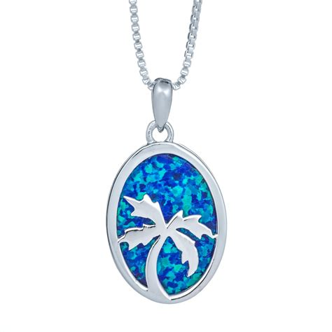 blue opal necklace ss sl 346 small blue opal pam tree necklace