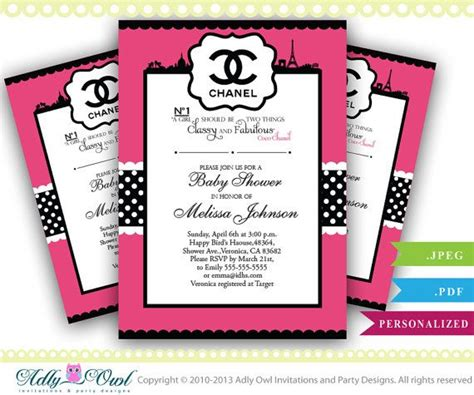 49 Best Images About Coco Chanel Stuff On Pinterest Classy Invitations And Baby Showers Chanel Invitation Template
