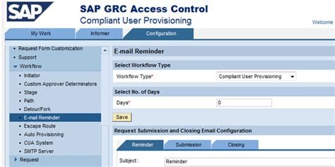 sap grc workflow configuration workflow type and associated notification options
