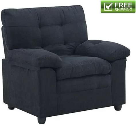 Microfiber Armchair Black Comfortable Soft Padded Living Black Living Room Chair